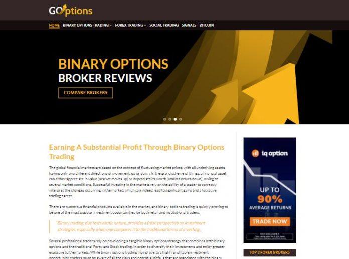 Webseite von goptions.com