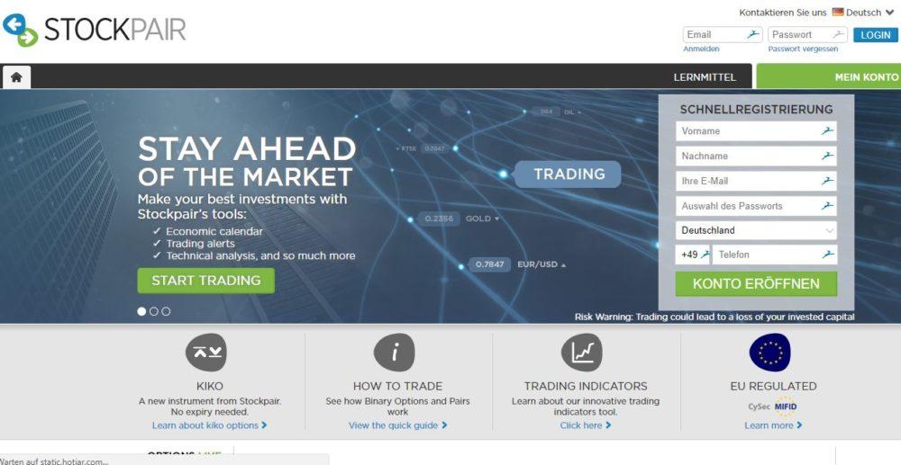 Webseite von stockpair.com