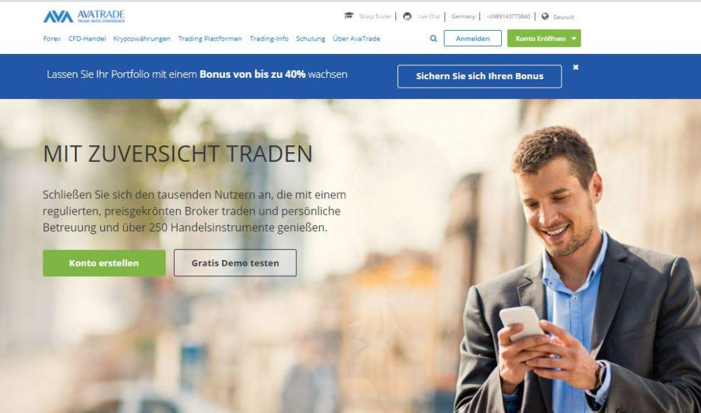 Webseite von avatrade.de