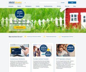 Homepage der 1822direkt Bank