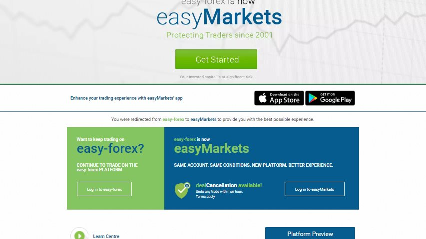 Easy Markets Webseite